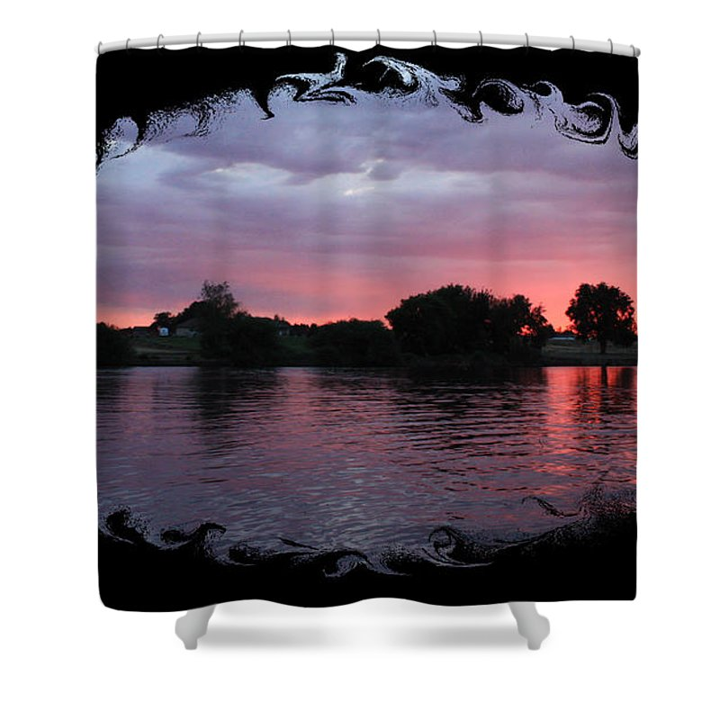 Sunset Shower Curtain featuring the photograph Pink Sunset Panorama With Black Framing by Carol Groenen