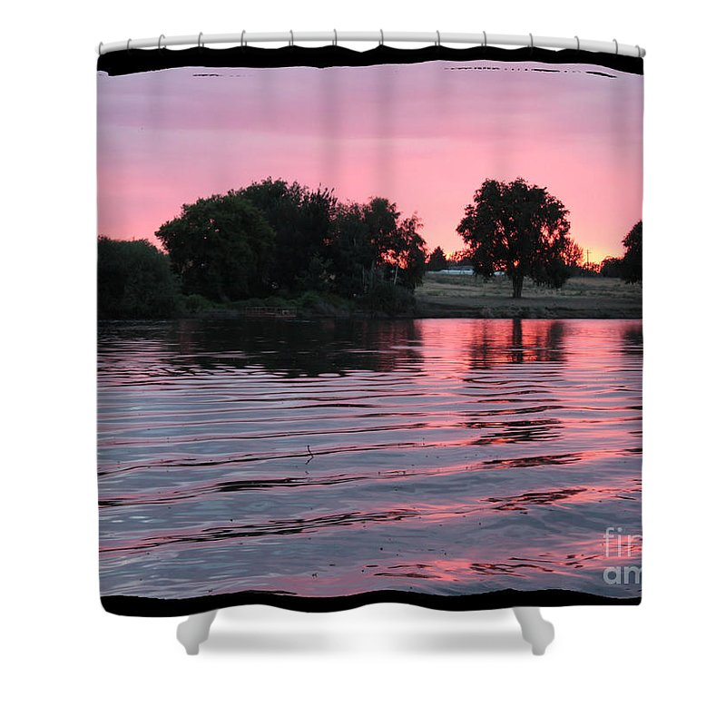 Pink Sunset Shower Curtain featuring the photograph Pink Sunset With Soft Waves In Black Framing by Carol Groenen