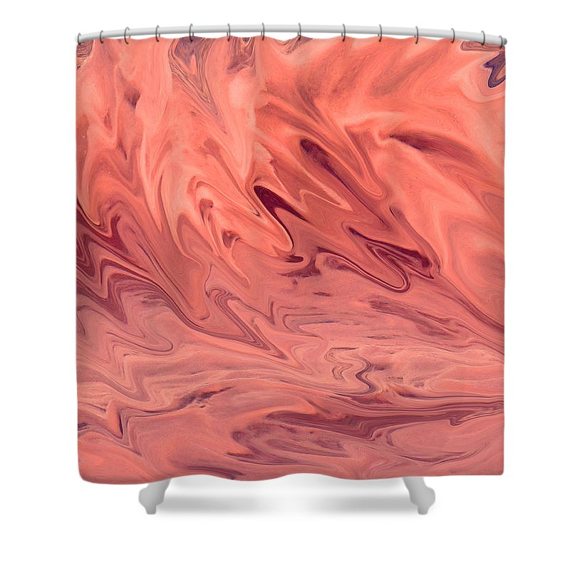 Abstract Shower Curtain featuring the digital art Pink Surge by Ian MacDonald