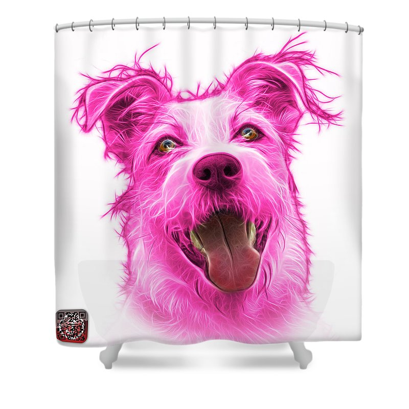 Terrier Shower Curtain featuring the painting Pink Terrier Mix 2989 - Wb by James Ahn