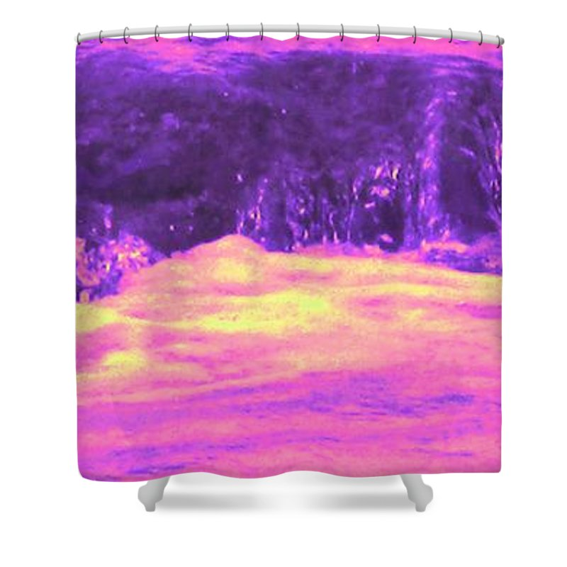 Seascape Shower Curtain featuring the photograph Pink Tidal Pool by Ian MacDonald