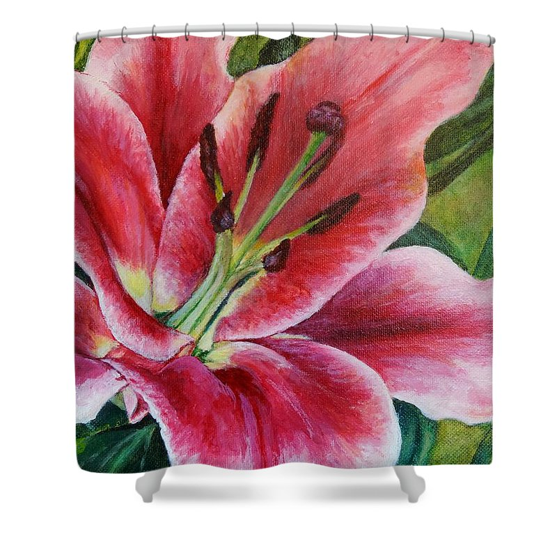 Pink Shower Curtain featuring the painting Pink Tiger Lily by Jodi Higgins
