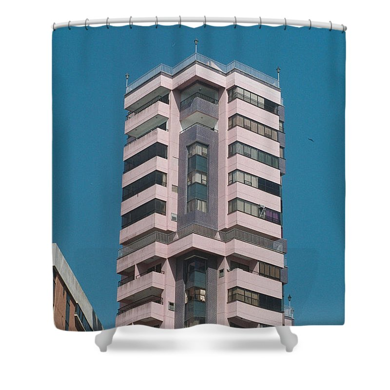 Girl Shower Curtain featuring the photograph Pink Tower by David Cardona