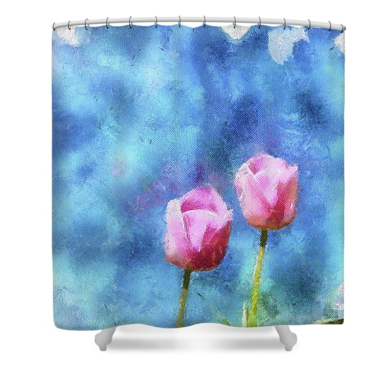 Flowers Shower Curtain featuring the painting Pink Tulips by Jamie Holbrook
