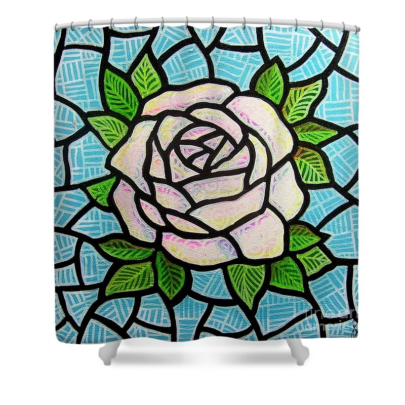 Rose Shower Curtain featuring the painting Pinkish Rose by Jim Harris