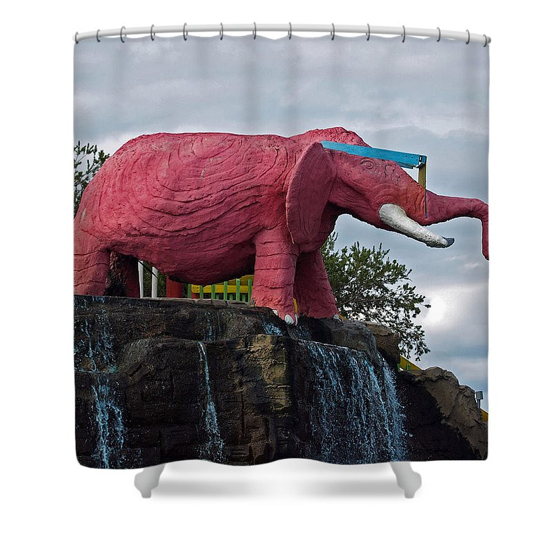 Florida; Kitsch; Roadside; Road; Side; Astronaut; Cape; Canaveral; Pinky; Elephant; Statue; Monument Shower Curtain featuring the photograph Pinky The Elephant At Cape Canaveral by Allan Hughes