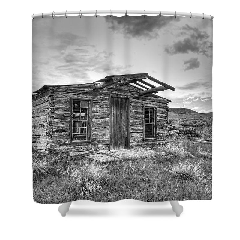 log Cabin Shower Curtain featuring the photograph Pioneer Home - Nevada City Ghost Town by Daniel Hagerman