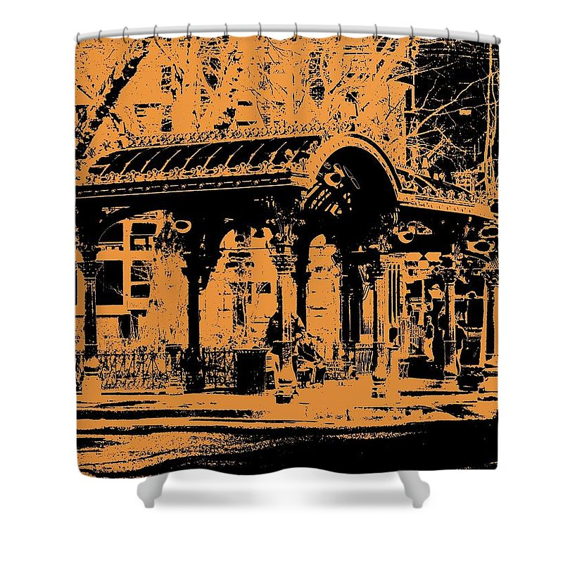 Seattle Shower Curtain featuring the digital art Pioneer Square Pergola by Tim Allen