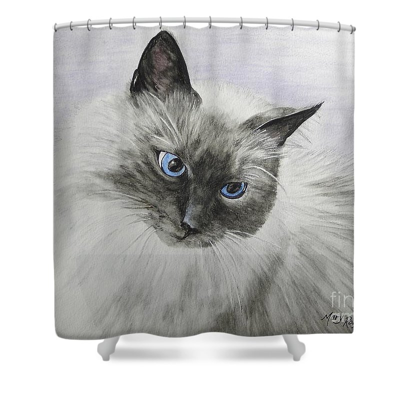 Animals Shower Curtain featuring the mixed media Pip by Mary Rogers