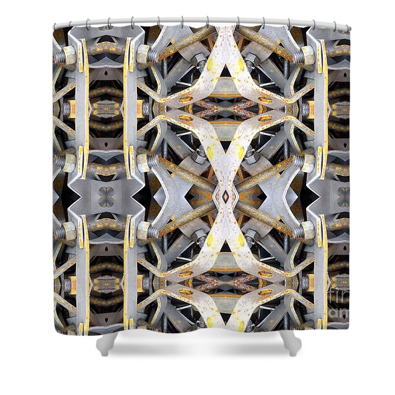 Abstract Shower Curtain featuring the digital art Pipe Hanger by Ron Bissett