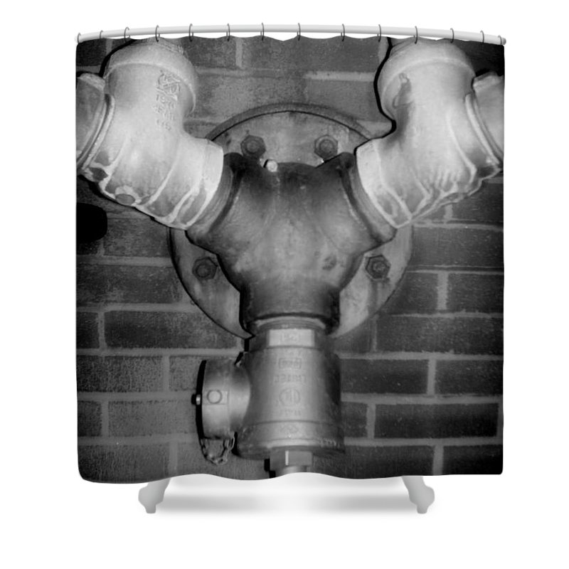 Color Photograph Shower Curtain featuring the photograph Pipe by Thomas Valentine