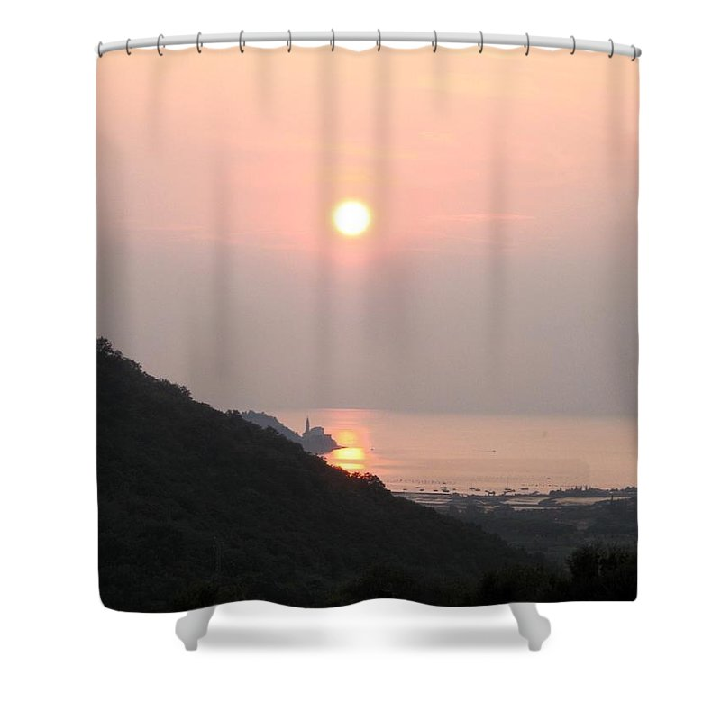 Sunset Shower Curtain featuring the photograph Piran's sunset II by Dragica Micki Fortuna