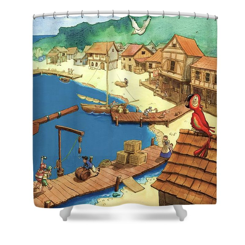 Pirate Shower Curtain Featuring The Painting Port By Andy Catling