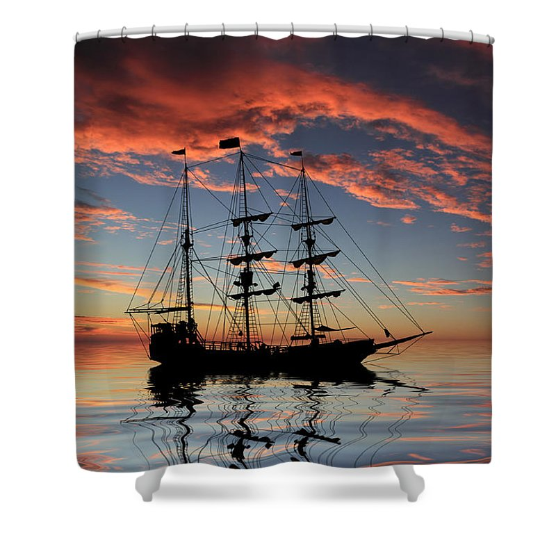 Pirate Ship Shower Curtain Featuring The Photograph At Sunset By Shane Bechler