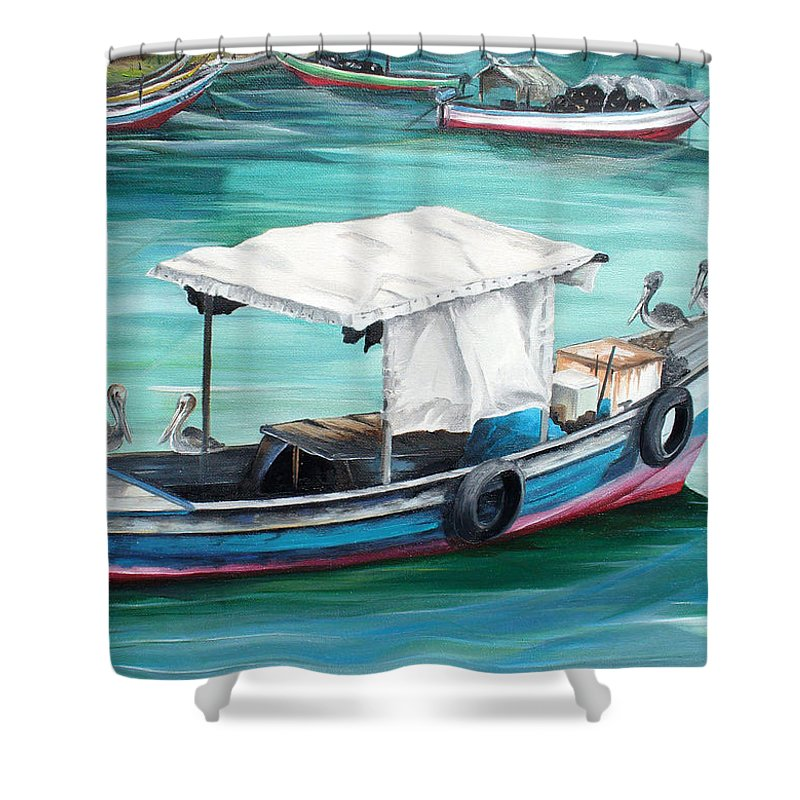 Fishing Boat Painting Seascape Ocean Painting Pelican Painting Boat Painting Caribbean Painting Pirogue Oil Fishing Boat Trinidad And Tobago Shower Curtain featuring the painting Pirogue Fishing Boat by Karin Dawn Kelshall- Best