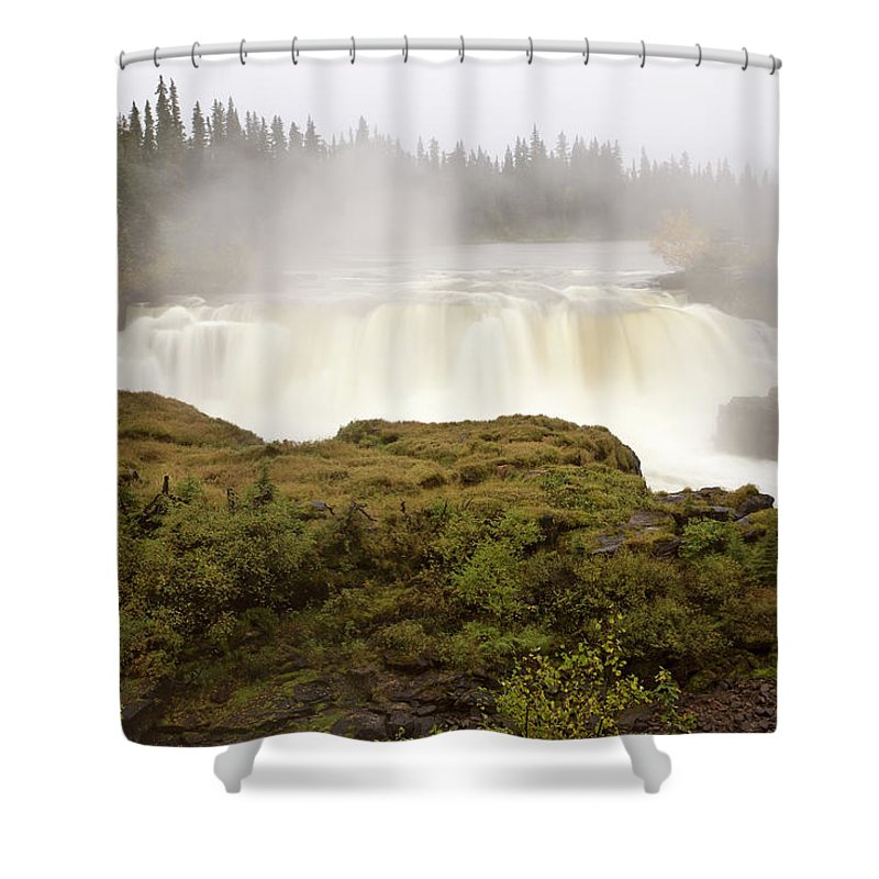 Water Shower Curtain featuring the digital art Pisew Falls Northern Manitoba Canada by Mark Duffy