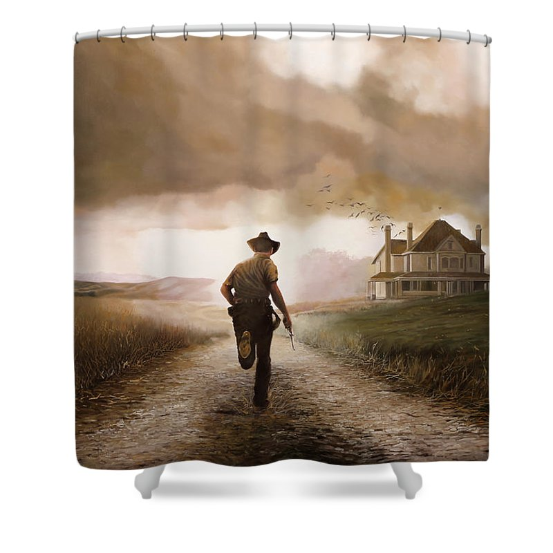 Cow Boy Shower Curtain featuring the painting Un Pistola by Guido Borelli