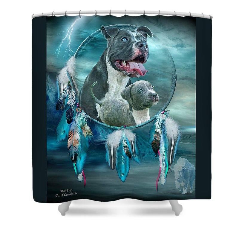 Rez Dog Cover Art Shower Curtain featuring the mixed media Pit Bulls - Rez Dog by Carol Cavalaris