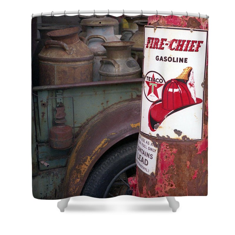 Old Milk Jugs Shower Curtain featuring the photograph Pit Stop by Richard Rizzo
