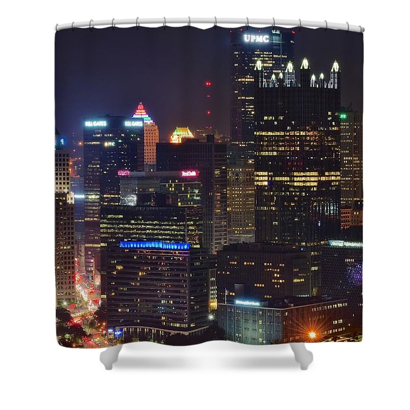 Pittsburgh Shower Curtain featuring the photograph Pittsburgh Close Up From Above by Frozen in Time Fine Art Photography