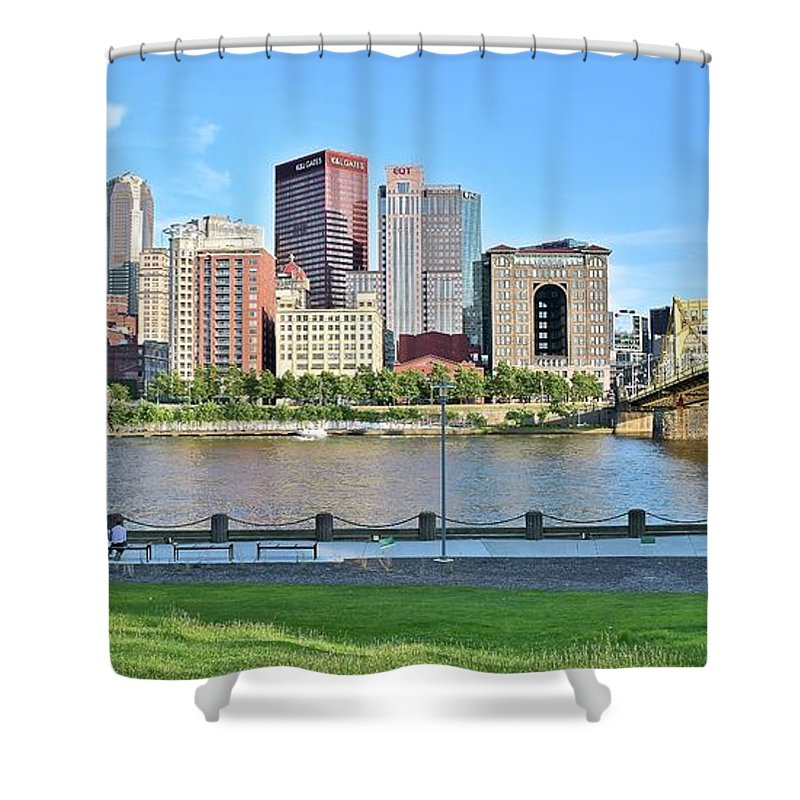 Pittsburgh Shower Curtain featuring the photograph Pittsburgh Pa Panoramic by Frozen in Time Fine Art Photography