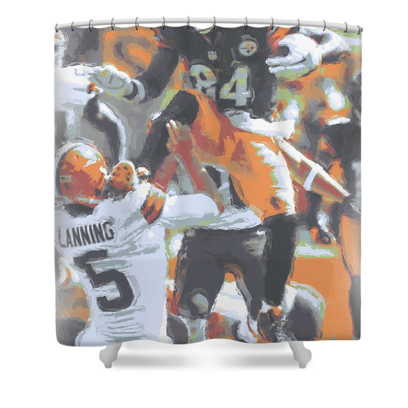 Pittsburgh Steelers Shower Curtain Featuring The Photograph Antonio Brown 4 By Joe Hamilton