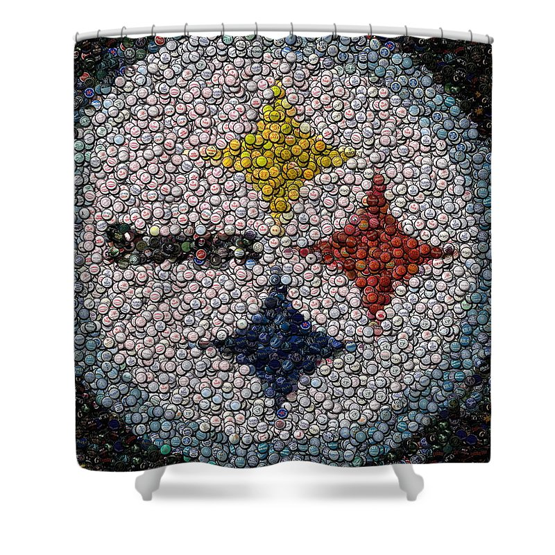 Pittsburg Shower Curtain Featuring The Digital Art Pittsburgh Steelers Bottle Cap Mosaic By Paul Van Scott