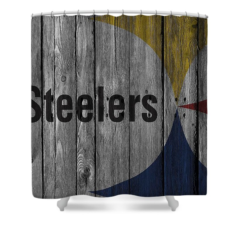 Steelers Shower Curtain Featuring The Photograph Pittsburgh Wood Fence By Joe Hamilton