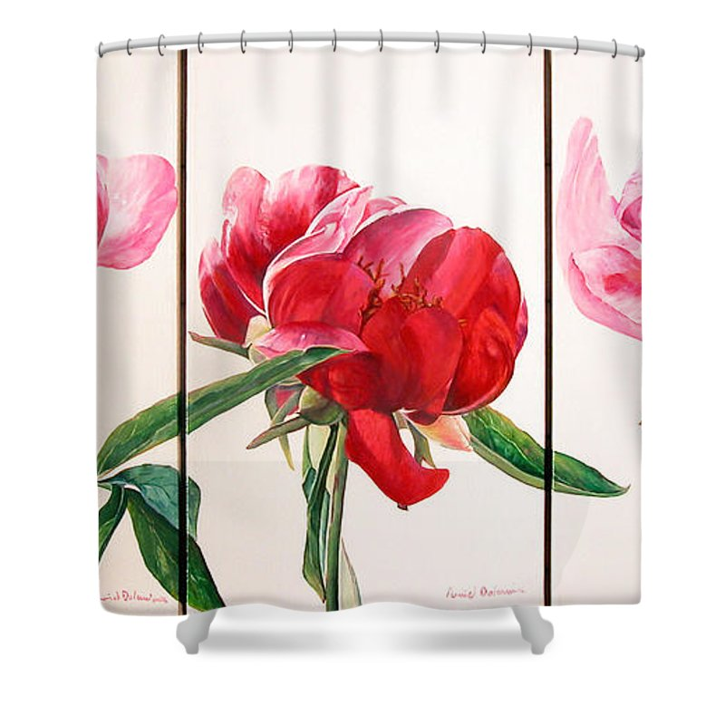 Floral Painting Shower Curtain featuring the painting Pivoines by Muriel Dolemieux