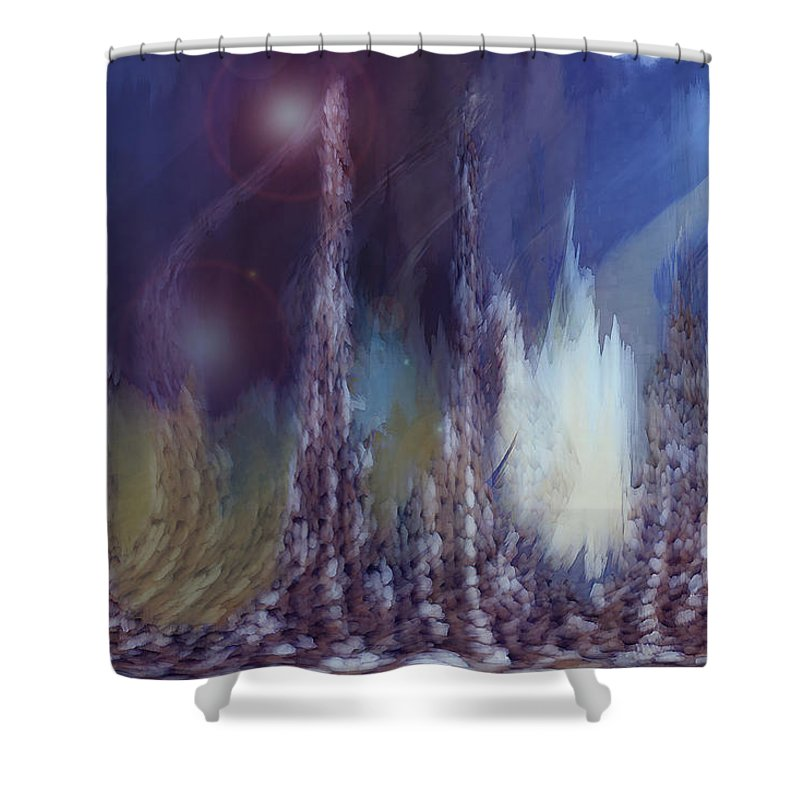 Abstract Shower Curtain featuring the digital art Pixel Dream by Linda Sannuti