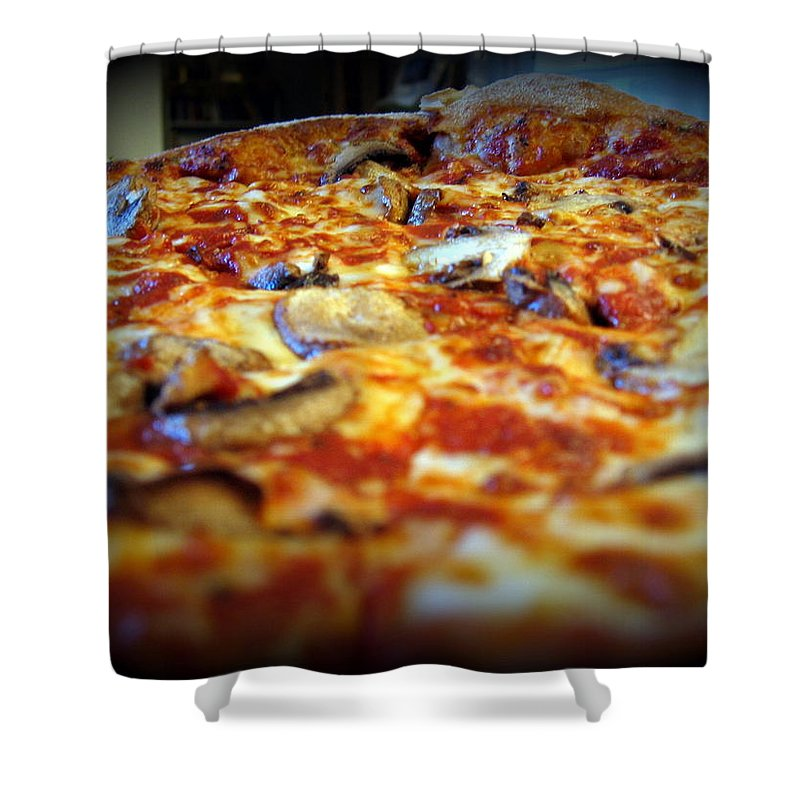 Pizza Shower Curtain featuring the photograph Pizza Pie For The Eye by Amy Hosp