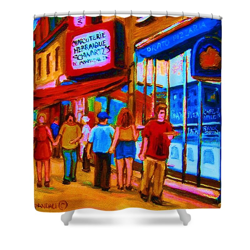 Schwartzs Hebrew Deli Shower Curtain featuring the painting Pizza To Go by Carole Spandau