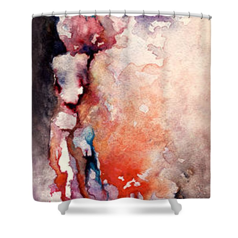 Abstract Shower Curtain featuring the painting Places In The Heart by Rachel Christine Nowicki