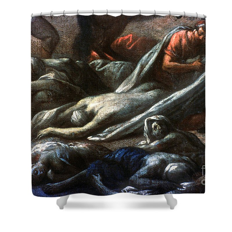 1720 Shower Curtain featuring the photograph Plague In Marseilles, 1720 by Granger