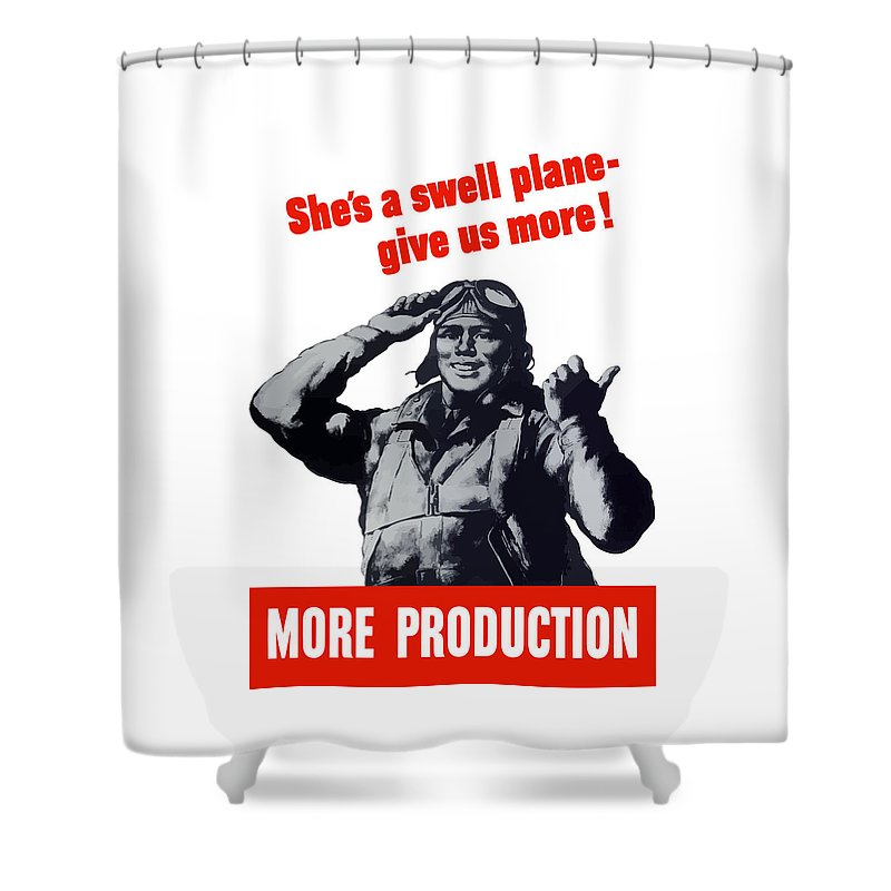 Pilot Shower Curtain featuring the painting Plane Production Give Us More by War Is Hell Store