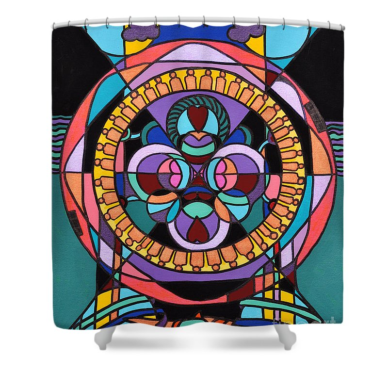 Surreal - Dream Works-mandala Shower Curtain featuring the painting Planet Earth by Reb Frost