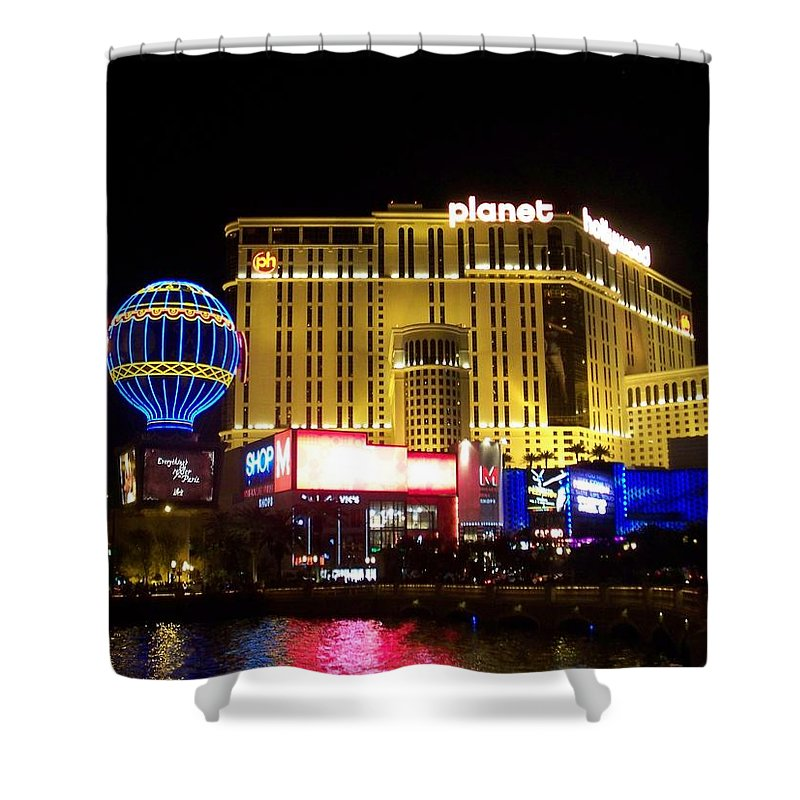 Vegas Shower Curtain featuring the photograph Planet Hollywood By Night by Anita Burgermeister