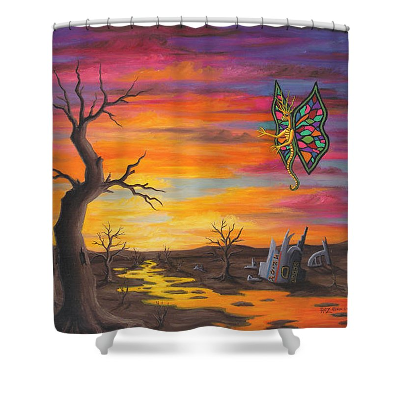 Fantasy Shower Curtain featuring the painting Planet Px7 by Roz Eve