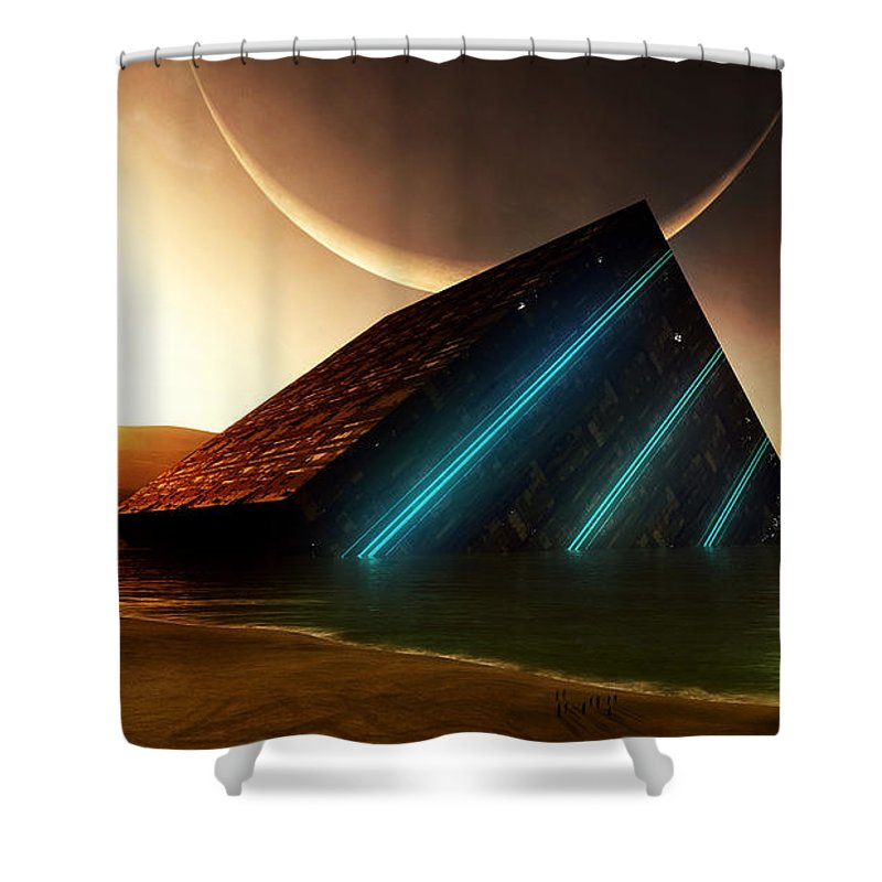 Planet Shower Curtain featuring the digital art Planet by Zia Low