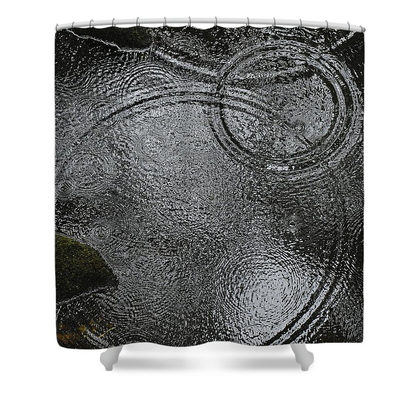 Abstracted Water Images Shower Curtain featuring the photograph Planetary Intersection In A Puddle by Heidi Fickinger