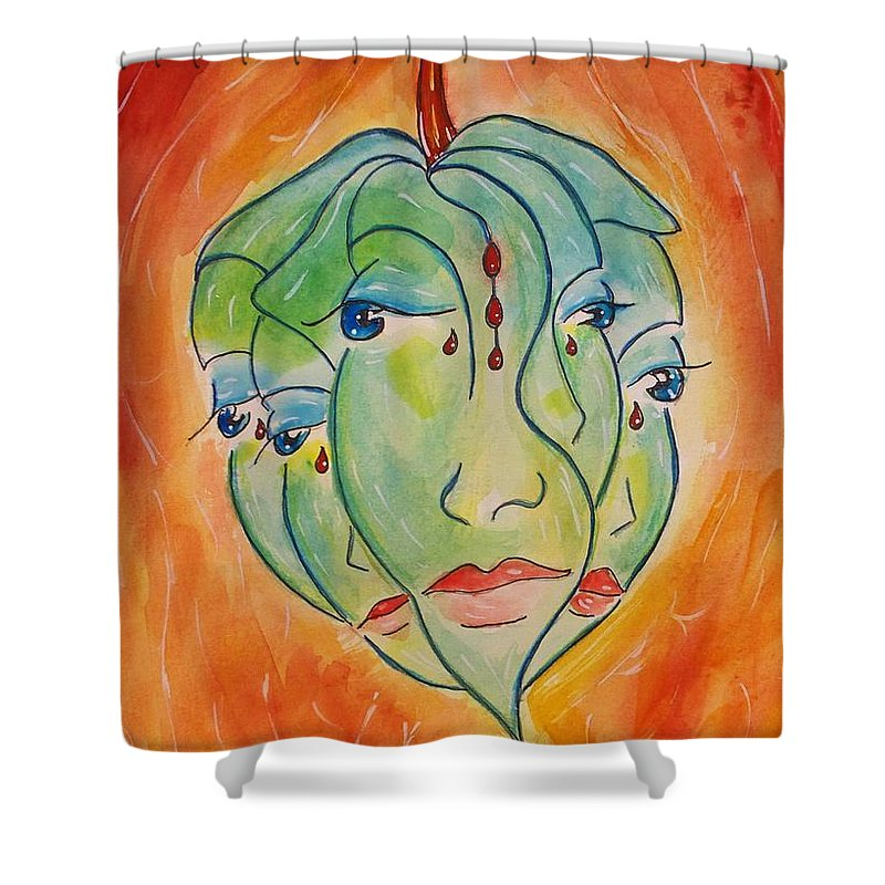 Surrealism Shower Curtain featuring the painting Plant Life by Robin Monroe