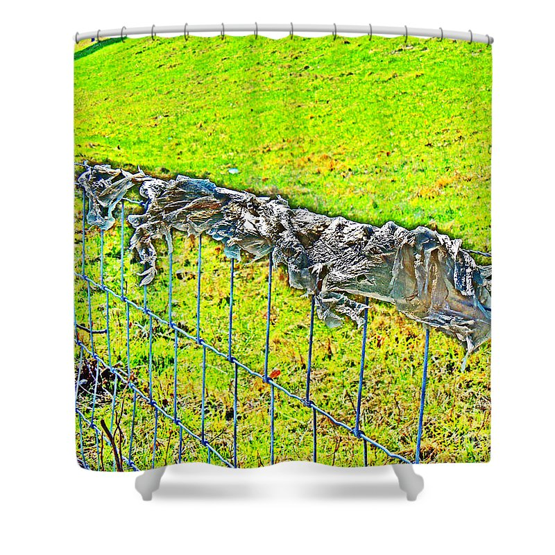 Shower Curtain featuring the photograph Plastic Sheeting On Fence by David Frederick
