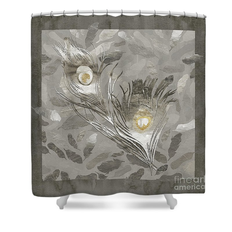 Platinum Shower Curtain featuring the painting Platinum Feathers, Peacock Feathers Home Fashion by Tina Lavoie