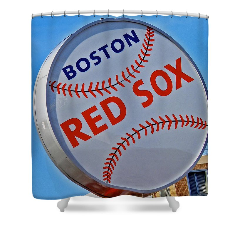 Red Sox Shower Curtain featuring the photograph Play Ball by Donna Shahan