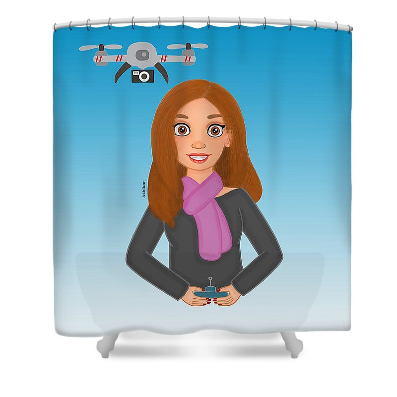 Drone Shower Curtain featuring the digital art Play Drone by Athikan Art