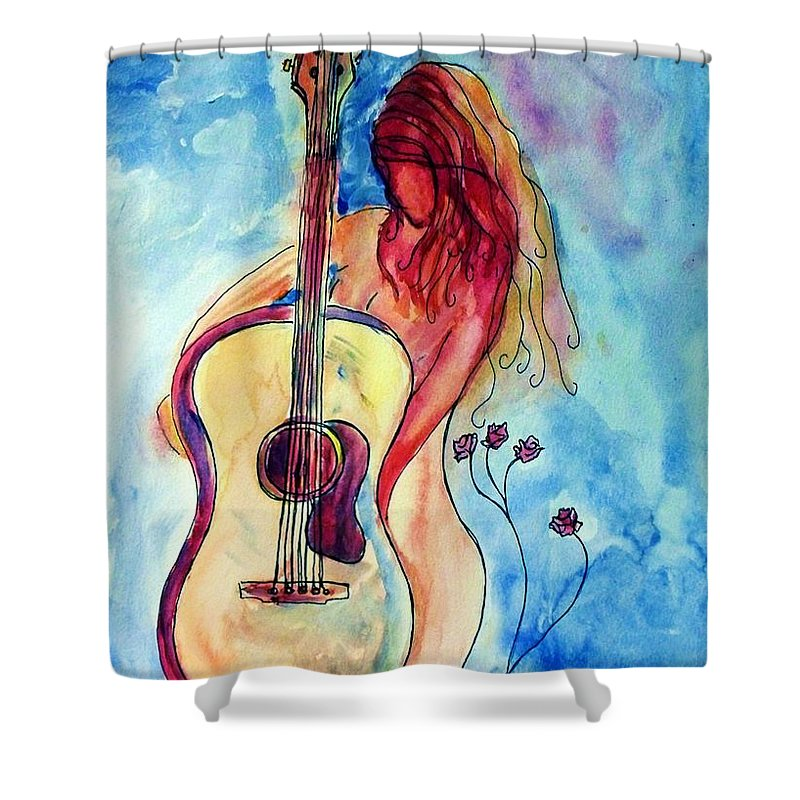 Guitar Shower Curtain featuring the painting Play Me A Song by Robin Monroe