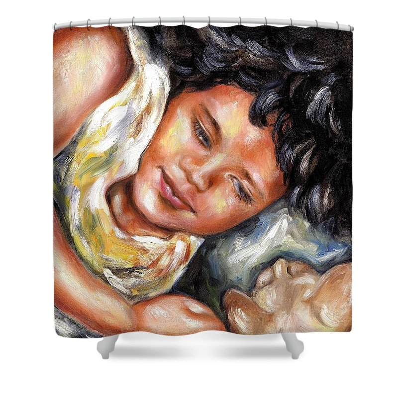 Child Shower Curtain featuring the painting Play Time by Hiroko Sakai