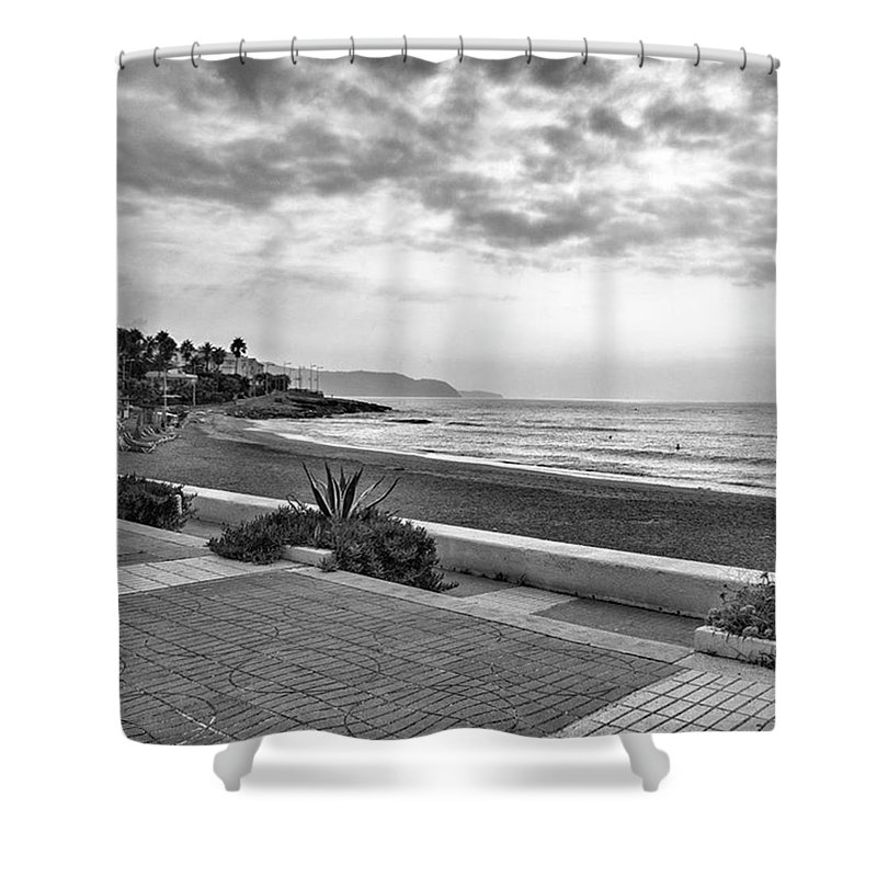 Monochromephotography Shower Curtain featuring the photograph Playa Burriana, Nerja by John Edwards