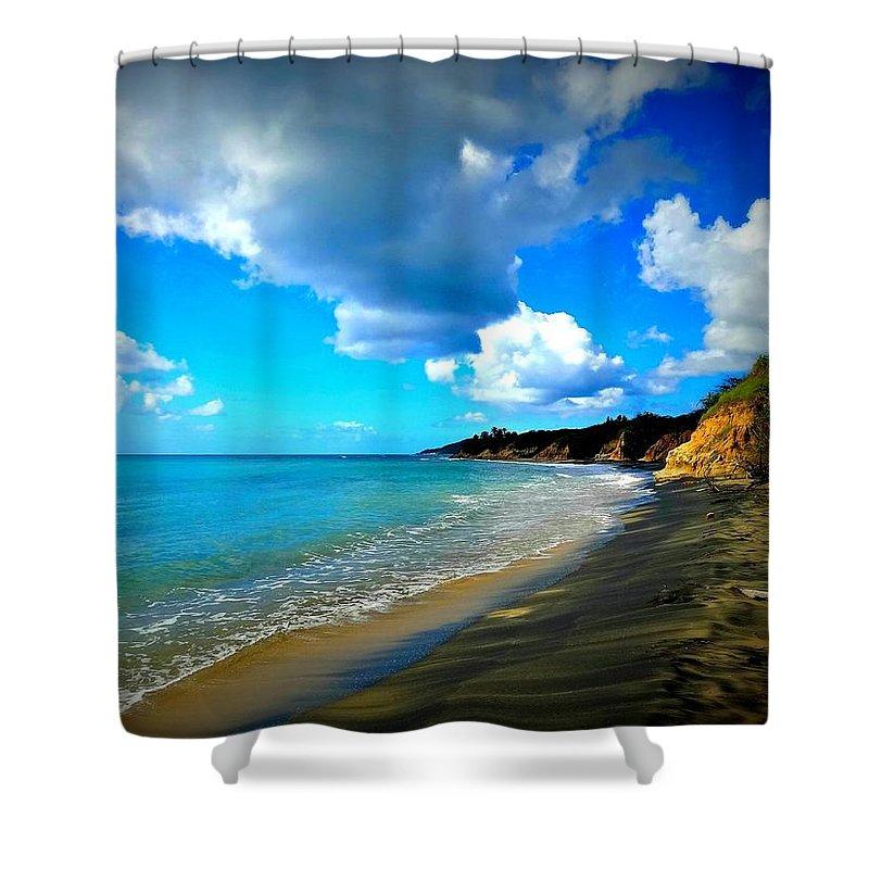 Black Sand Shower Curtain featuring the photograph Playa Negra by Becki Kremer