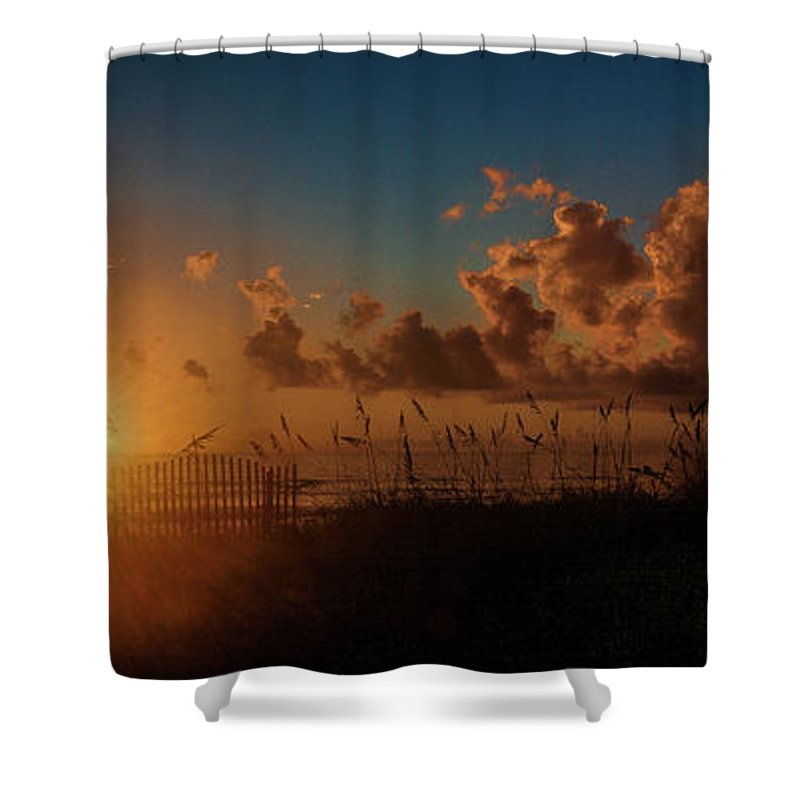 Sunrise Shower Curtain featuring the photograph Playalinda Sunrise by Charlie Grindrod